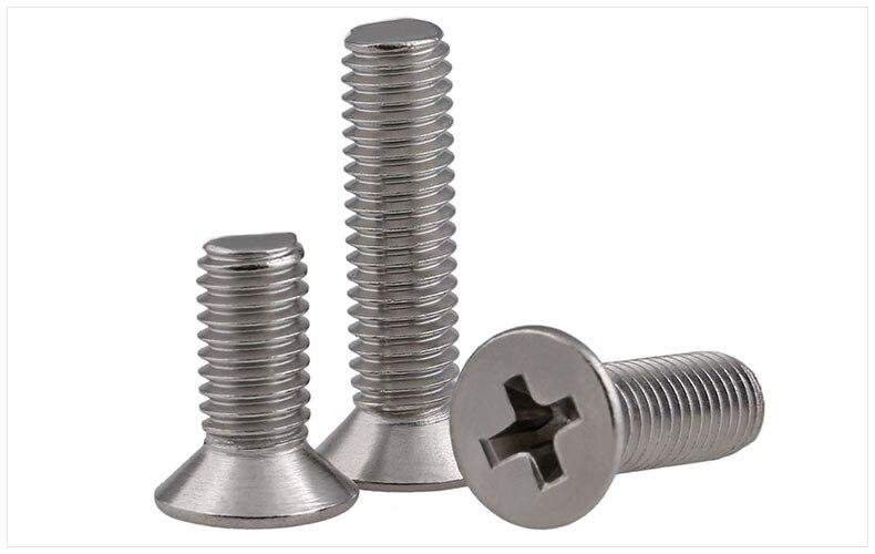 316 stainless steel flat head screws M2 M2.5 M3 M4 screws KM screws phillips screws 304 stainless steel flat head screws m6 m8 m10 screws km screws phillips screws