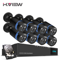 H View 16CH Surveillance System 8 1080P Outdoor Security Camera 16CH CCTV DVR 1TB HDD Kit