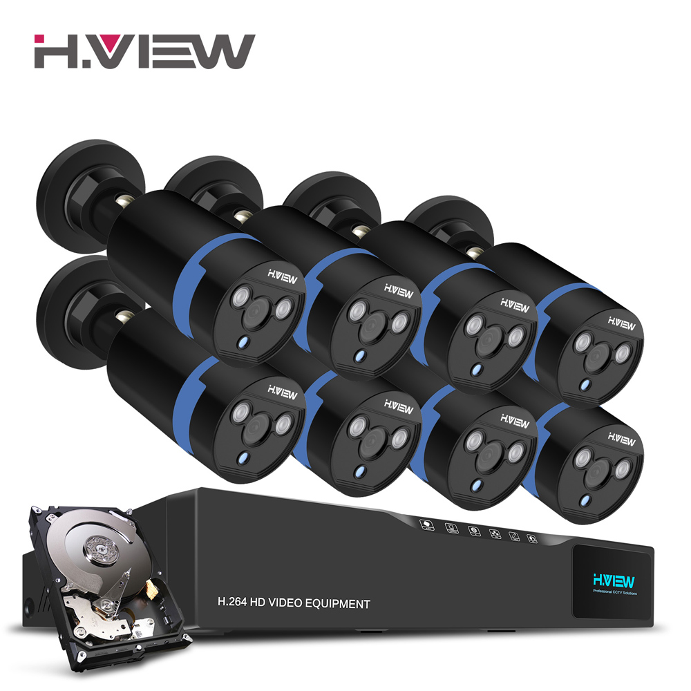 H.View 16CH Surveillance System 8 1080P Outdoor Security Camera 16CH CCTV DVR 1TB HDD Kit Video Surveillance Easy Remote View 16ch video camera recorder dvr with 16pcs outdoor waterproof ir day night vision surveillance camera 16ch security sytem dvr kit