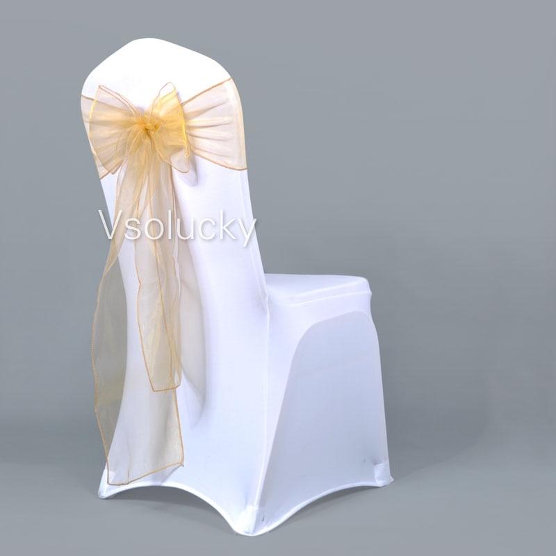 25 шт./лот, прозрачный чехол для стула из органзы с поясом и бантом, свадебные, вечерние, рождественские, на день рождения, для душа - Цвет: Золотой