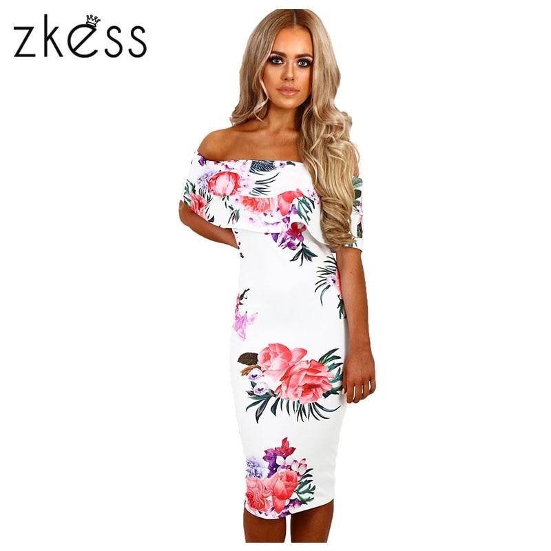 Zkess Elegáns virágos nyomtatás Midi ruha Női le vállán Bodycon ruha Vestidos nyári térd hosszú szexi fél ruha LC61536