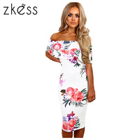 Zkess Elegant Floral Print Midi Dress Women Off Shoulder Bodycon Dress Vestidos Summer Knee Length Sexy