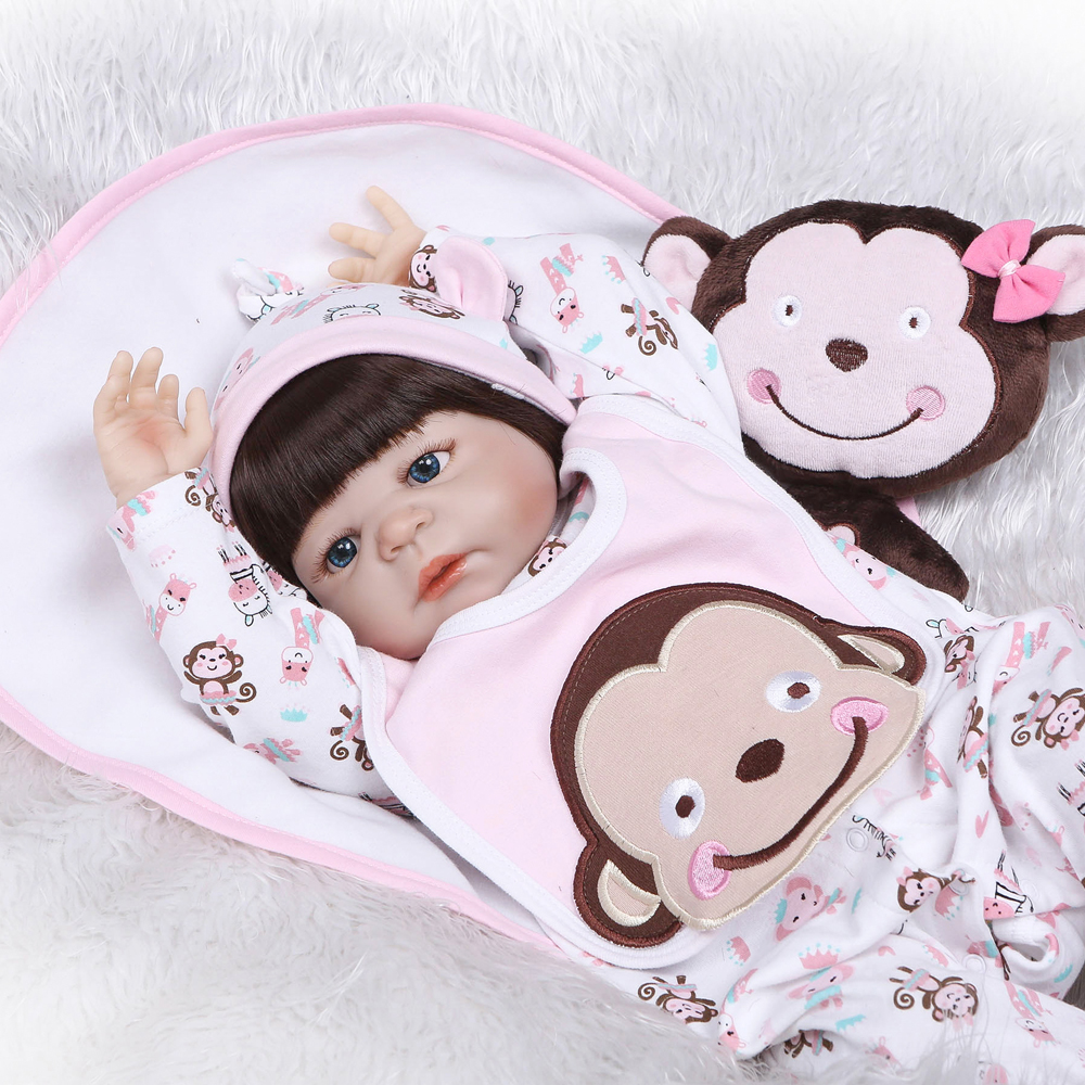 Full silicone reborn baby dolls real baby girl doll with monkey plush Bebe dolls menina bonecas can bathe child birthday gift  Full silicone reborn baby dolls real baby girl doll with monkey plush Bebe dolls menina bonecas can bathe child birthday gift