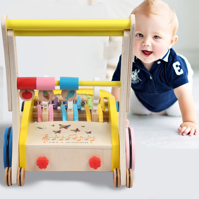 Wooden Baby Walker Hand Push Toy For Toddler Folding Design Anti-Collision Cushion Design Baby First Steps for Kid's Learn