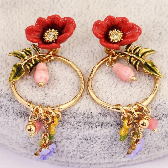 07de03a19 Les Nereide Earring Jewelry For Women Flowers Series Enamel Glaze Circle  Flowers Beads Ear Stud Luxury