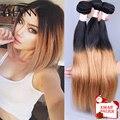 Ombre бразильский weave волос 1b 27 ombre связки волосы 4 пучки 10-30 дюймов HANNE реми черный и блондинка меда человеческих волос