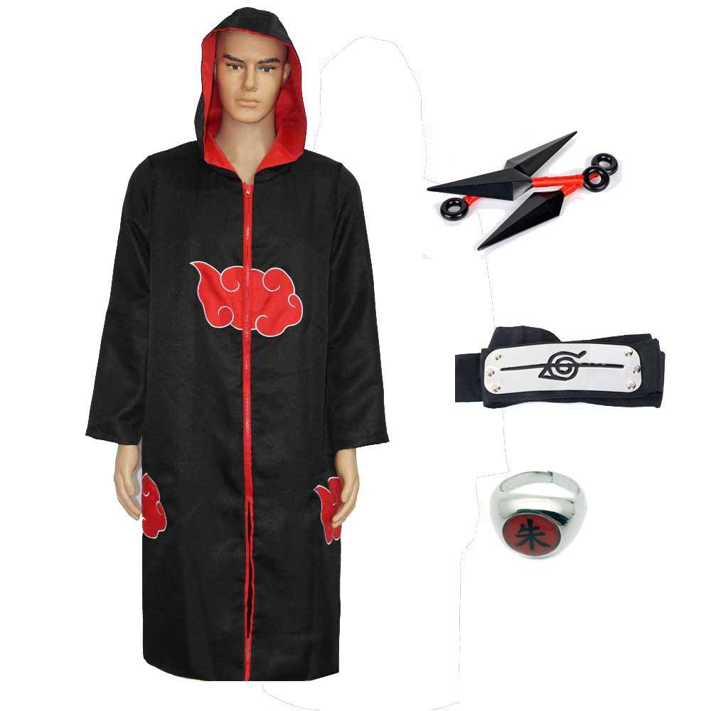 Men Women Naruto Cosplay Costume Akatsuki Cloak Hoodie Naruto Uchiha Itachi Anime Cosplay With Hat Robe