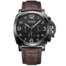 Megir Cronógrafo Reloj de Los Hombres de la Marca de Lujo de Cuarzo Ocasional Del Deporte Militar Reloj de Los Hombres de Cuero Genuino Reloj de Pulsera Relogios
