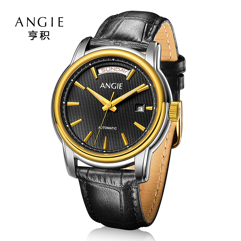 a0f803f22e1 Angie Luxury Automatic Mechanical Watch Men High Quality Double Calendar  Watch Hollow Skeleton Wrist Watches Relogio Masculino-in Mechanical Watches  from ...