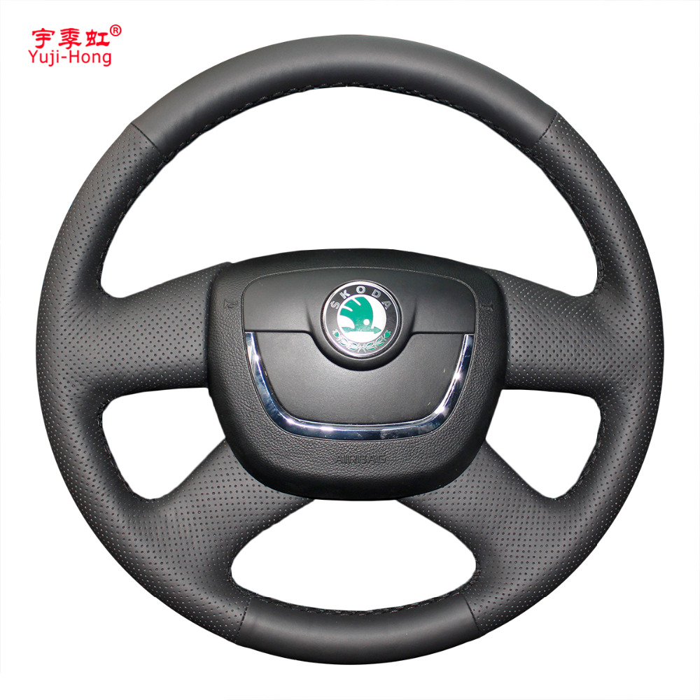 Yuji-Hong Car Steering Wheel Covers Case for SKODA Octavia Superb 2009-2012 Hand-stitched Artificial Leather Cover