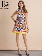 Baogarret New 2019 Fashion Runway Summer Dress Womens Gorgeous Beading  Plaid Print Sleeveless Slim Elegant Mini Dresses