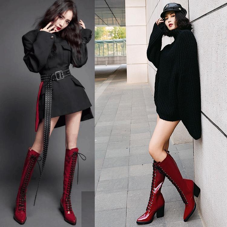 Punta La Tacón rojo De Invierno Atado Moda Rodilla Patente Rojo Zapatos Aguja Negro Hasta Negro Mujeres Cuero Alta Roma Vino Brillante Botas Cruz ZgAqOw