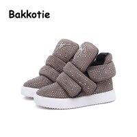 Bakkotie 2017 Winter Baby Girl Fashion Rhinestones Boots Child Ankle Booties Brown Kid Brand Toddler Black