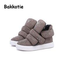Bakkotie 2017 Winter Baby Girl Fashion Rhinestones Boots Child Ankle Booties Brown Kid Brand Toddler Black Leisure Shoe Sneaker