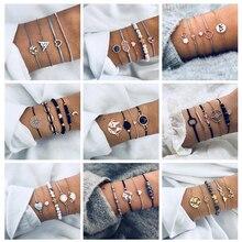 Tocona 20 Style Boho Bird Turtle Map Heart Leaf Arrow Bracelets Shell Bead Palm Gem Chain Bracelet Set Exquisite Women Jewelry цена