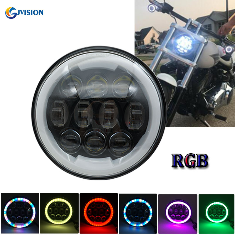 Round Moto headlight 5.75 inch led projector daymaker headlamp Hi/Lo beam RGB Halo ring for Harley Dyna Sportster 1200 48 883 harley led daymaker headlights 5 75 inch hi lo beam projector headlight for harley dyna sportster 1200 48 883 trun signal lights