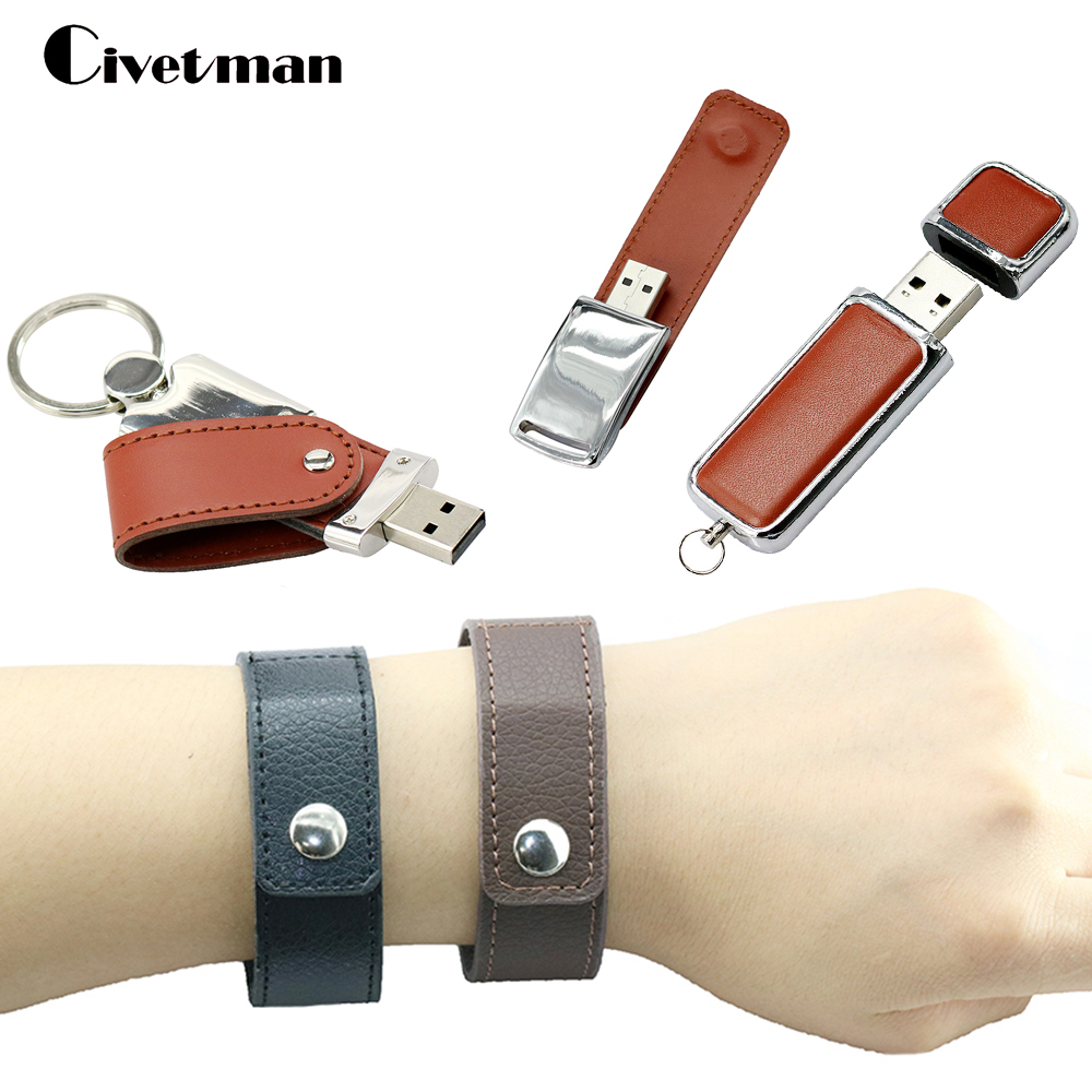 Fashion Bracelet Leather USB Flash Drive 64GB Pen Drive 32GB Pendrive Real Capacity Memory Stick Disk 8GB 16GB Storage Device