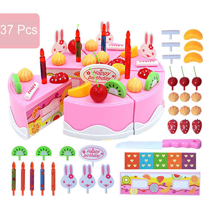 Cute Babies Lovely Model Cakes Kits 37pcs Birthday Party Cake Set Role Pretend Play Kids Kitchen Food Toy Pink Food