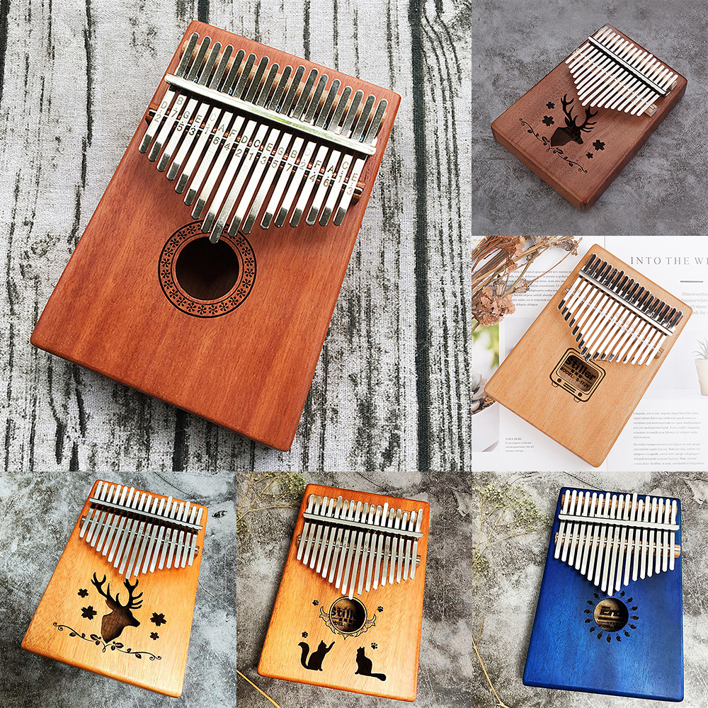 17 Keys Kalimba Finger Piano Thumb Piano Traditional Toy Musical Instrument Accompaniment With Tuning Hammer Scale Sticker