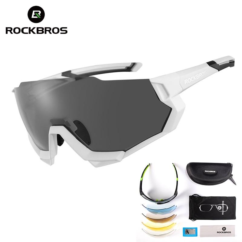 ROCKBROS Cycling Glasses Men Women Bicycle Cycling Sunglasses Polarized 5 Lens Photochromic MTB Bike Glasses Sport Sunglasses in Cycling Eyewear from Sports Entertainment