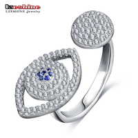 LZESHINE Luxury Sparkling CZ Eye Shape Opening Rings Real 925 Sterling Silver Charm Finger Rings For