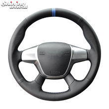 цена на Shining wheat Black Genuine Leather Car Steering Wheel Cover for Ford Focus 3 2012-2014 KUGA Escape 2013-2016 C-MAX 2011-2018