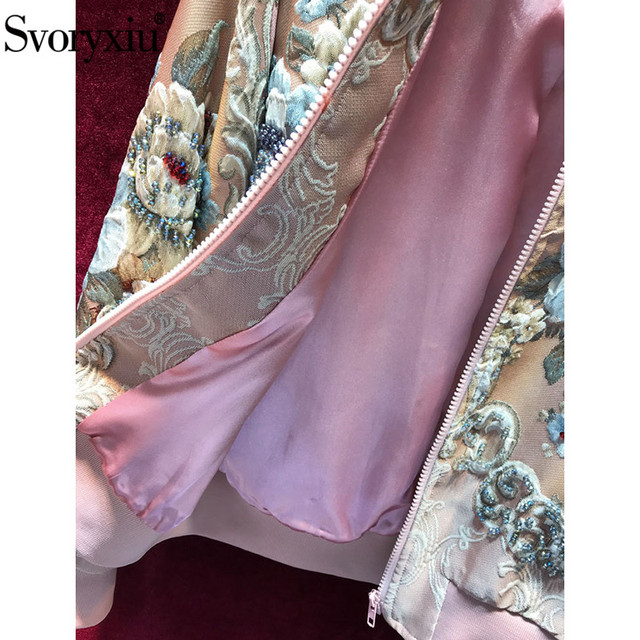 Svoryxiu blouson automne-hiver rose femme, vêtement dextérieur de luxe avec motif de fleurs et de fleurs,