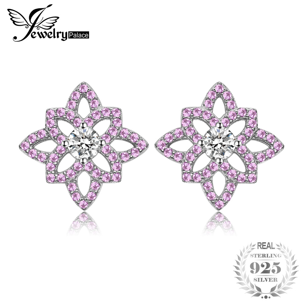 JewelryPalace Trendy 0.93 ct Created Pink Sapphires & CZ Flower Stud Earrings For Women 925 Sterling Silver Wedding Fine Jewelry