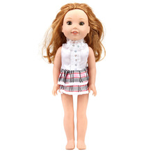 ZXZ White plaid skirt for 14.5 Inch American Girl Dolls Wellie Wisher Dolls- Doll Clothes for 14 Inch Wellie Wisher Dolls