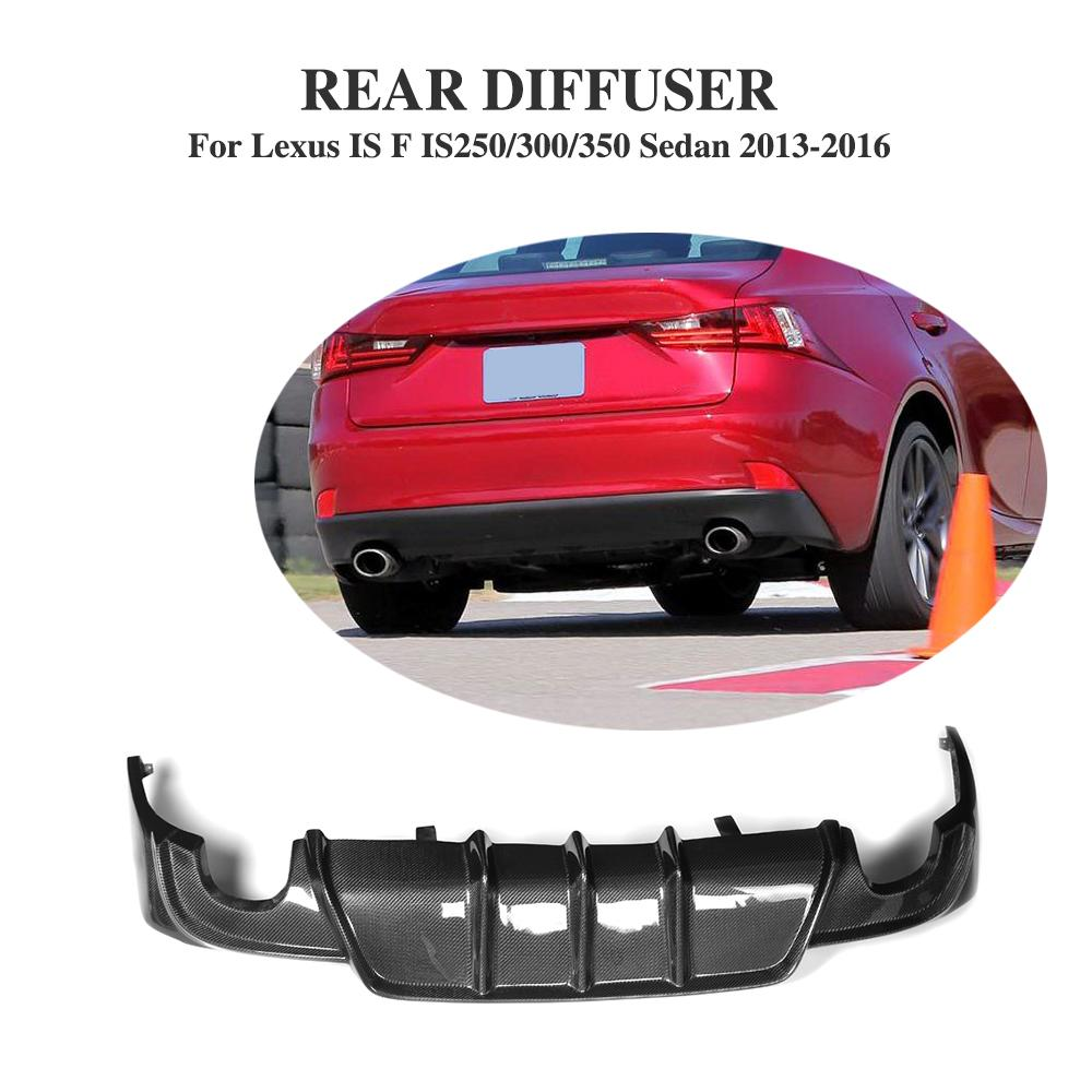 Rear Diffuser Lip Carbon Fiber Bumper Protector For Lexus IS IS250 IS300 IS350 13-16 IS F Sedan 13-14 dual exhaust One outlet цена