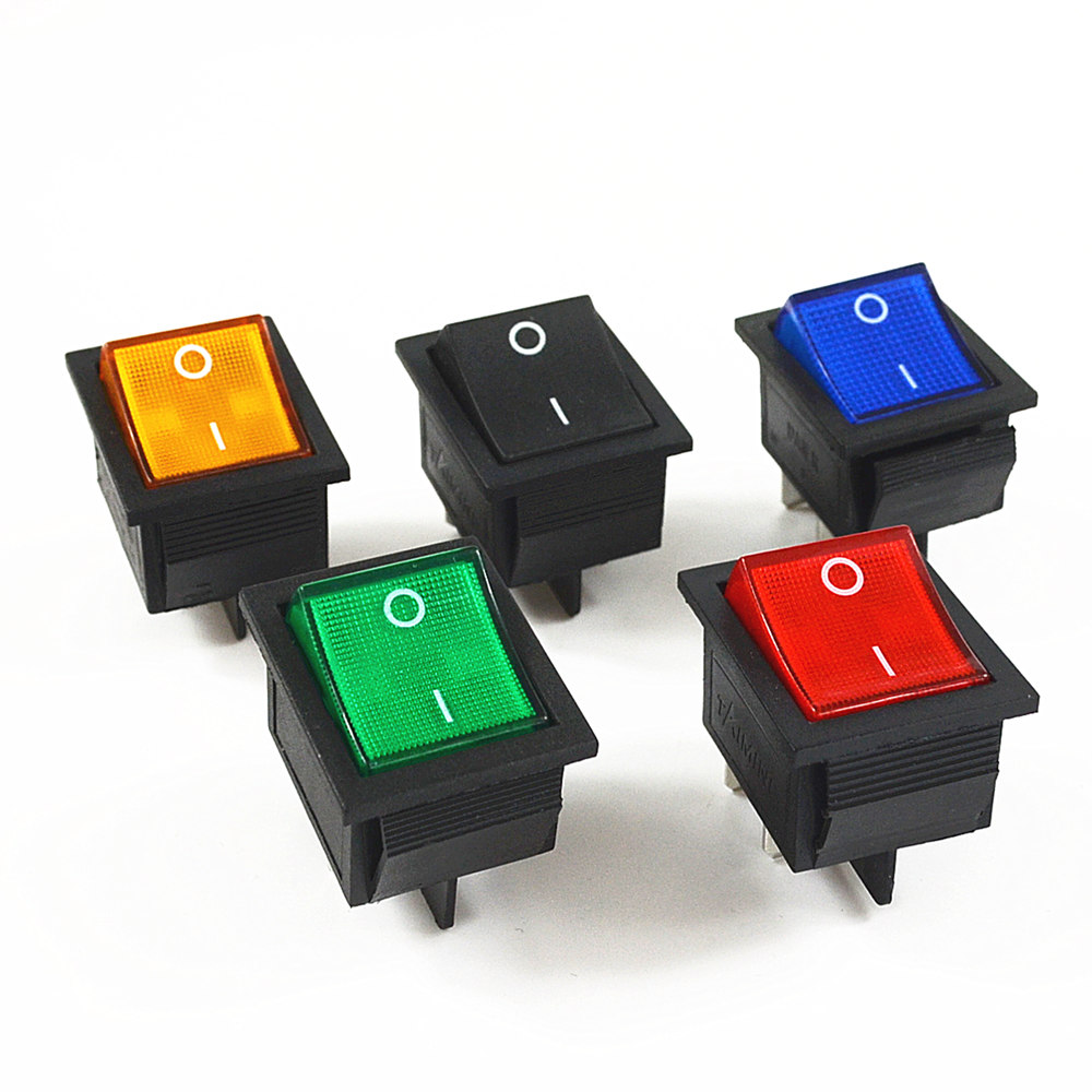 5Pcs Latching Rocker Switch Power Switch I/O 4 Pins with Light 16A 250VAC 20A 125VAC KCD4