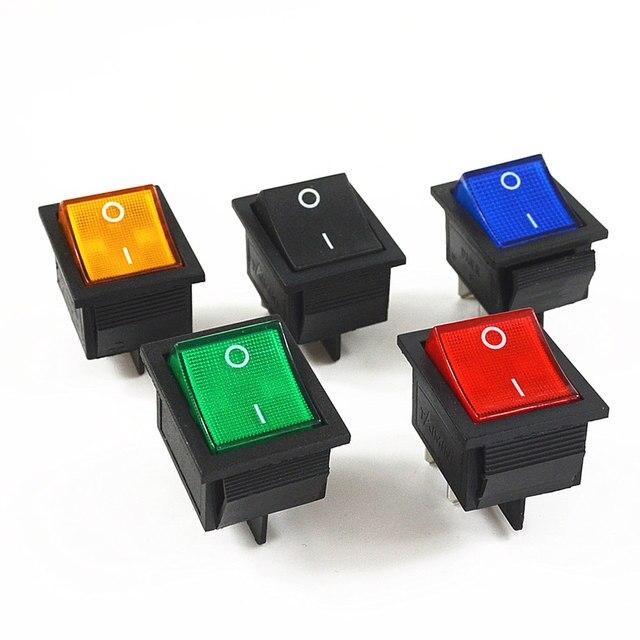 5Pcs Latching Rocker Switch Power Switch I/O 4 Pins with Light 16A 250VAC 20A 125VAC KCD4