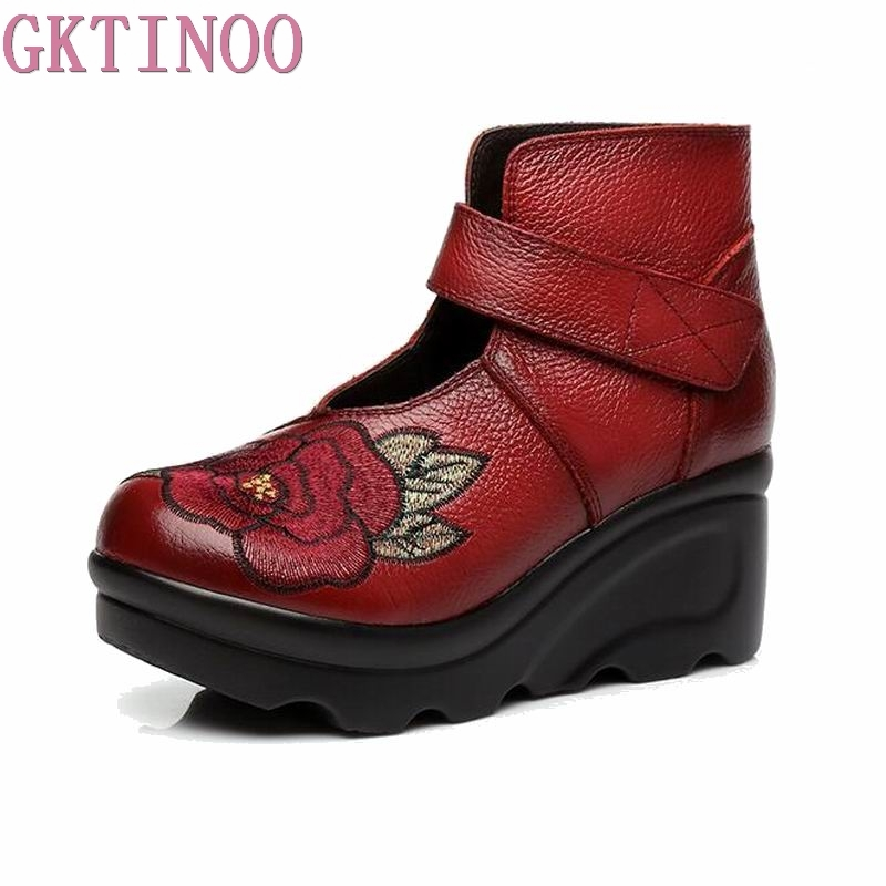 New Arrival 2019 Fashion Women Autumn Genuine Leather Boots Handmade Vintage Flower Embroidered Ankle Botines Wedges Shoes WomanNew Arrival 2019 Fashion Women Autumn Genuine Leather Boots Handmade Vintage Flower Embroidered Ankle Botines Wedges Shoes Woman