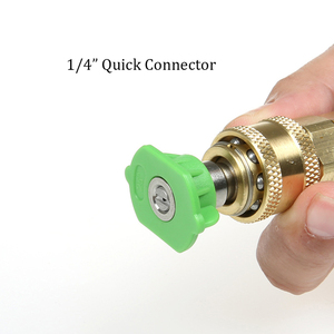 """Image 5 - High Pressure Washer Brass Connector Adapter M22 Male 1/4"""" female Car Washer Quick Connection Adapter with 5 Car Washing Nozzles"""