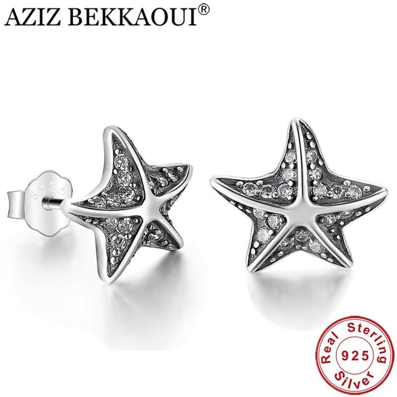 AZIZ BEKKAOUI Lovely 100% 925 Sterling Silver Star Tropical Starfish Stud Earrings with Crystal for Women femme Fine Jewelry