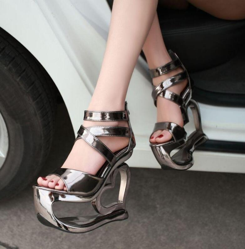 Women's Unique High Heels Strappy Heart Shape Party Open Toe Heels Sandals Shoes 15cm Super Height