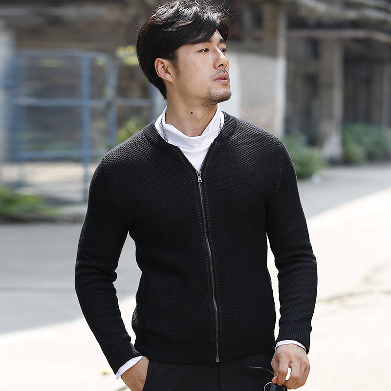 Spring Men Cardigan Slim Sweater Outwear Zipper Cardigan Brief O neck Fashion Casual Male Sweater LQ03