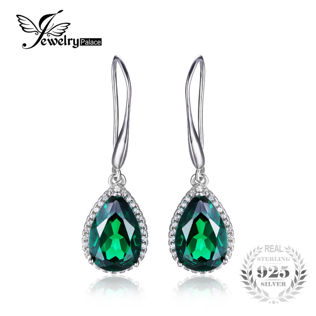 JewelryPalace Pear 5.4ct Created Green Nano Russian Emerald Dangle Earrings Solid 925 Sterling Silver   Jewelry For Women 2016