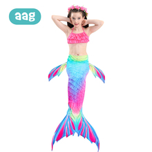 AAG 3PCS/Set Children Bikini Swimsuit Girls Swimmable Mermaid Bathing Swimming Suit Kids Swimwear Dress Children Beachwear 25 kids girls outfits children bikini set pink swimsuit swimwear beachwear swimming girl bathing suit