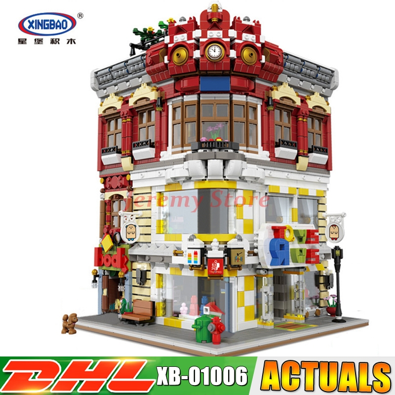 XingBao 01006 5491Pcs Genuine Creative MOC City Series The Toys and Bookstore Set Children Building Blocks Bricks Toy Model Gift building blocks super heroes back to the future doc brown and marty mcfly with skateboard wolverine toys for children gift kf197