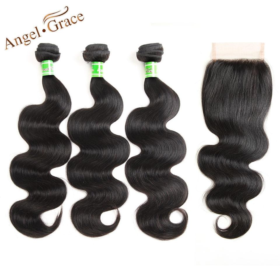 Angel Grace Hair Peruvian Body Wave 3 Bundles With Closure Remy Hair Bundles With Closure Peruvian Hair Bundles With Closure