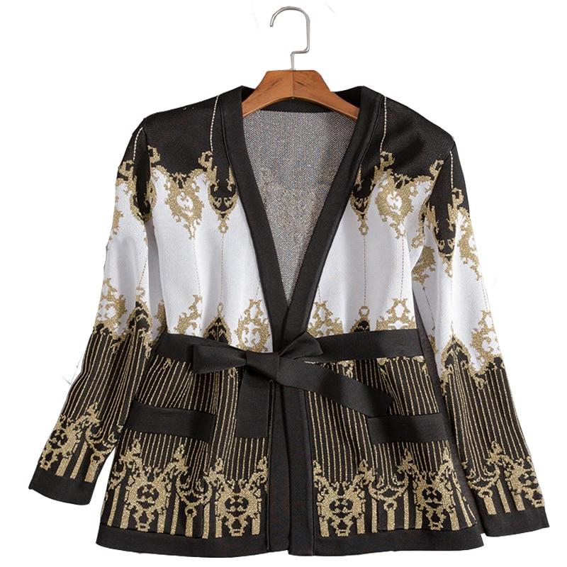 Высокое качество Мода 2018 осень зима Дизайнерская куртка Женская барокко узор золотая нить вязание свитер кардиган верхняя пальто