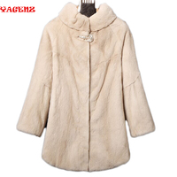 import Women's Mink Fur Coat Winter Natural mink fur coat in the long section The entire female mink fur collar thick warm coat