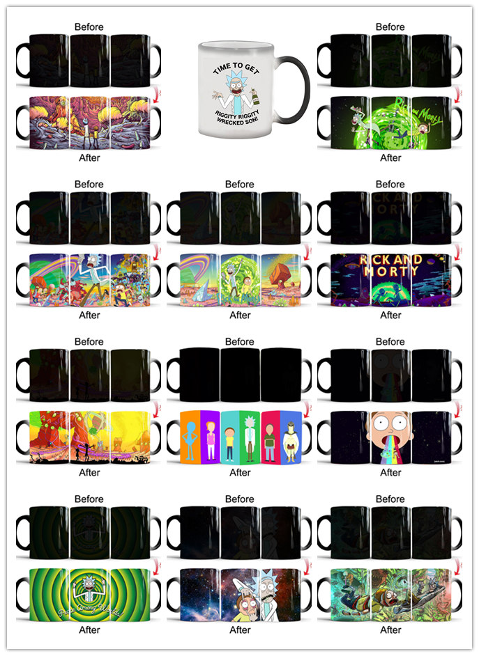 rick and morty mugs cartoon mug kids cups Tea gifts heat sensitive cup heat transforming heat changing color cups magic mug