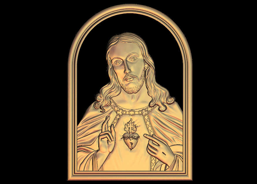 3D Model Jesus God Heart Relief For CNC Router Engrave Artcam Aspire Type3 STL Format File M467
