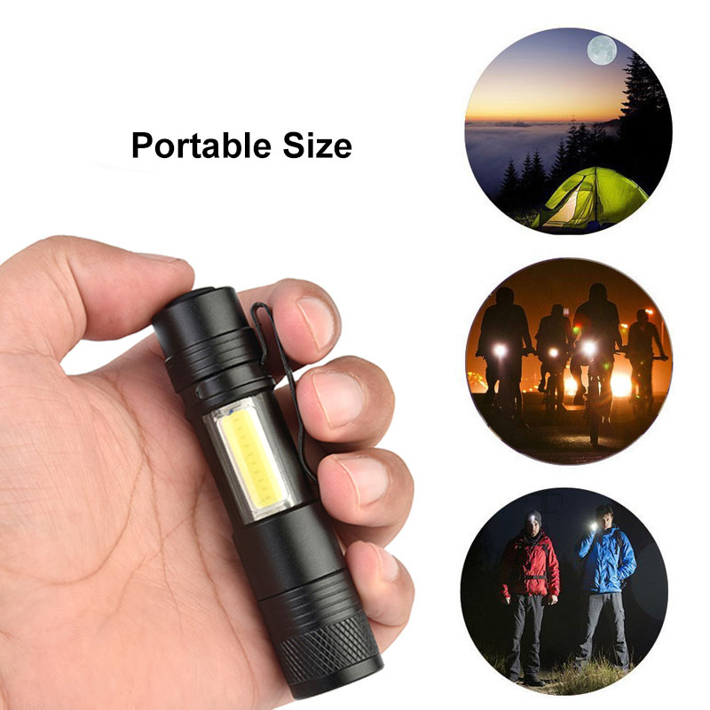 Mini Portable Aluminum Q5 LED Flashlight XPE&COB Work Light lanterna Powerful Pen Torch Waterproof lamp 4 Modes by 14500 or AA