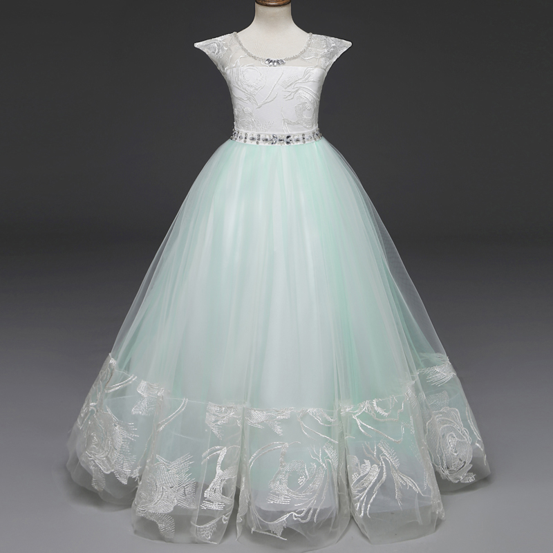 cf9e57c652a2a Teenage Girl Christmas Party Dress Mint Flower Girls Wedding Gown ...
