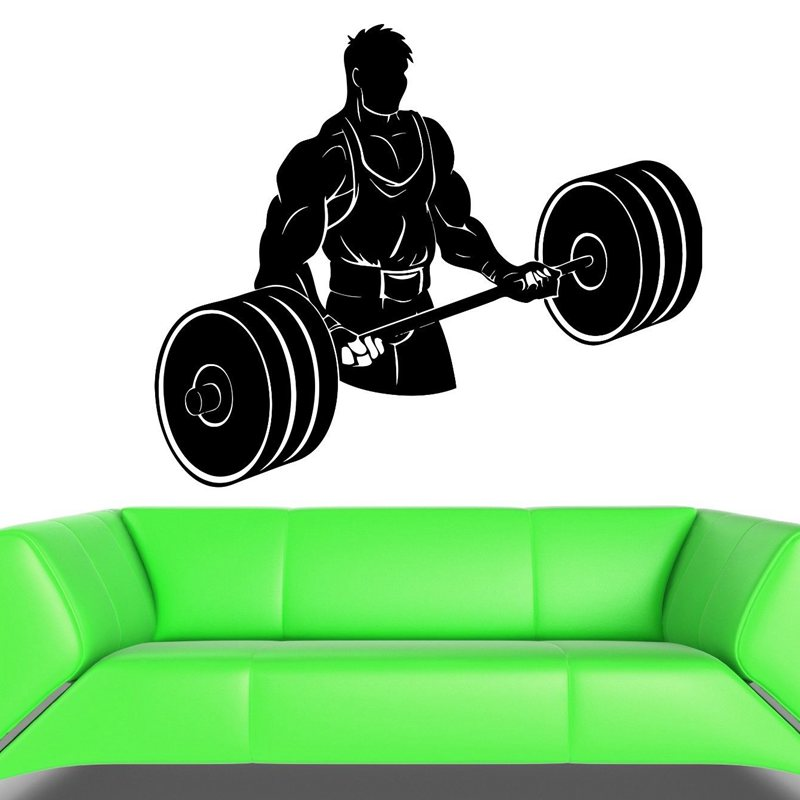 Gym Sticker Fitness Decal Bodybuilding Dumbbell Posters Name Muscle Vinyl Wall Parede Decor 19 Color Choose