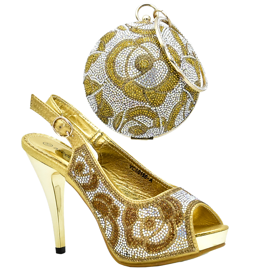 2018 High Quality African Designer Shoe And Bag Set To Match Luxury Gold Color Italian Shoes With Matching Bags Set Crystal hot artist shoes and bag set african sets italian shoes with matching bags high quality women shoes and bag to match set mm1055