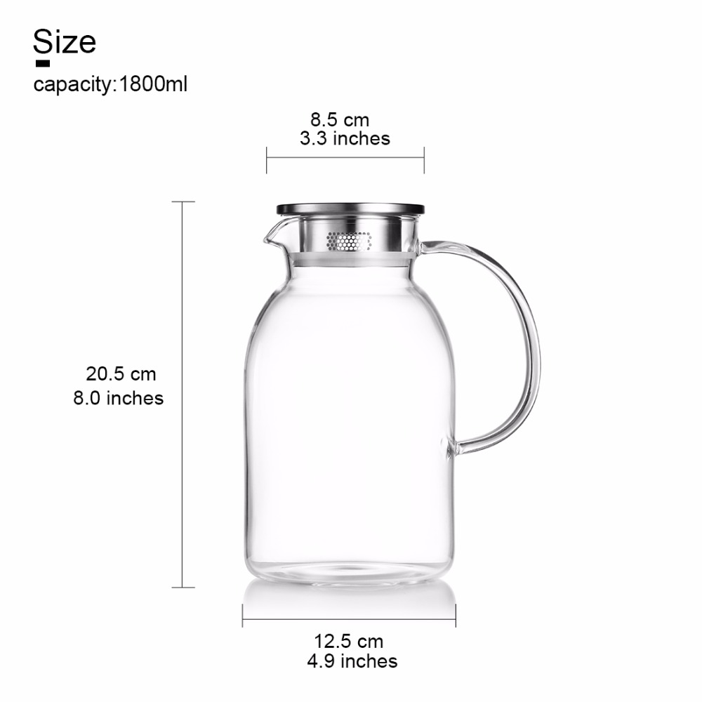 1 8/2 2L Large Capacity Glass Water Bottle Portable Drinking Bottle For  Water With Handgrid Healthy BPA Free Stainless Steel Lid